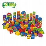 BiOBUDDi - Educational blocks with 3 baseplates - Eco Friendly Block Set - 100 Blocks